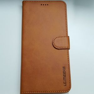 """Wallet case for iphone xs max 6.5"""" brown leather"""